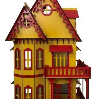 wooden dollhouse big size 3 yellow red color