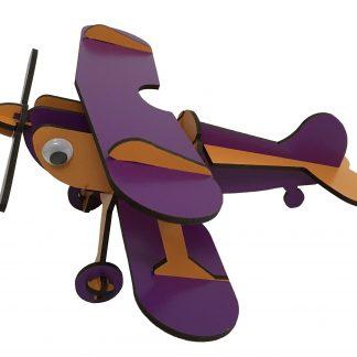 wooden airplane orange purple