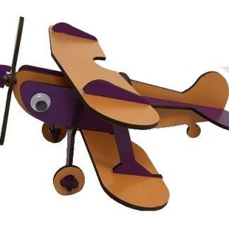 هواپیمای چوبی پازلی دوباله بنفش-نارنجی
