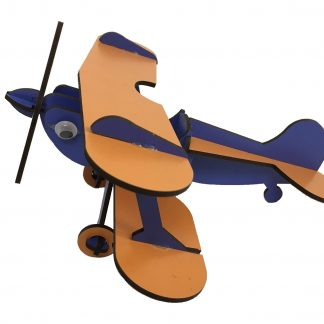 wooden airplane blue orange