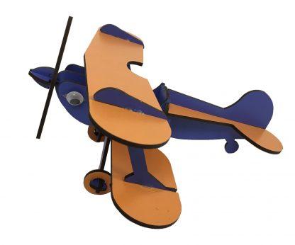 wooden airplane blue orange
