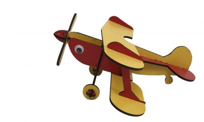 wooden airplane red yellow