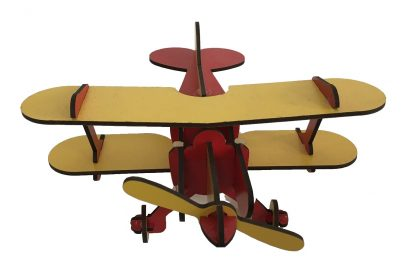 wooden airplane red yellow top view