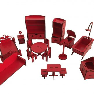 wooden dollhouse accessories red color