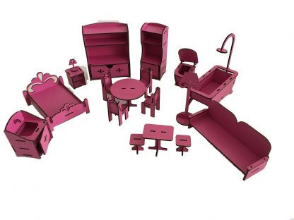 wooden dollhouse accessories pink color