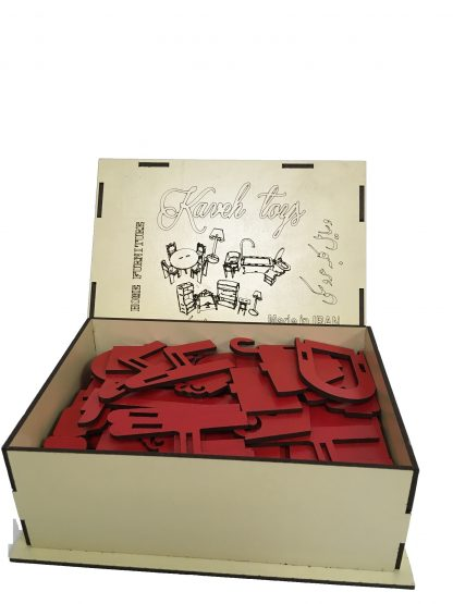wooden dollhouse accessories red parts in box