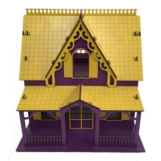 wooden dollhouse size 2 purple yellow