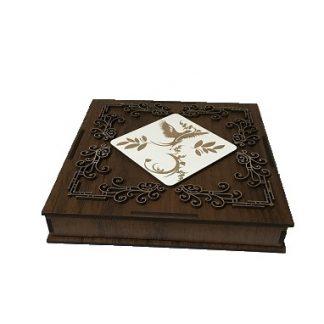 جعبه کادویی چوبی گل برجسته قهوه ای