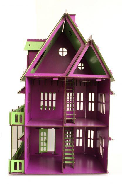 کلبه عروسکی چوبی بزرگ پازلی بنفش-صورتی