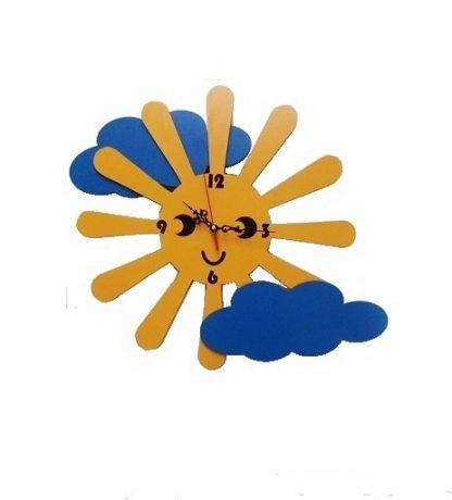 ساعت فانتزی اتاق بچه طرح خورشید و ابر