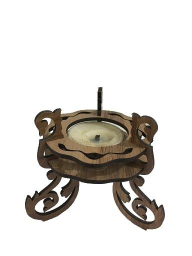 جای شمع سه پایه رومیزی دکوری قهوه ای روشن