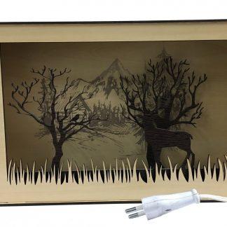 چراغ خواب چوبی سه بعدی