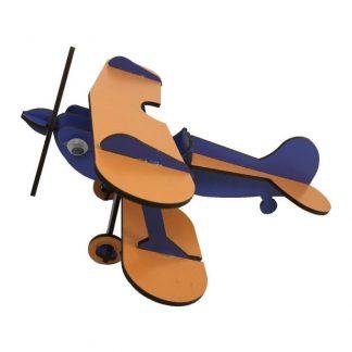 پازل سه بعدی چوبی هواپیمای دوباله آبی-نارنجی