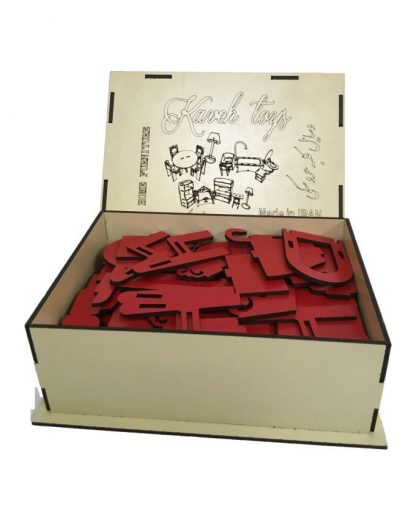 پازل چوبی سه بعدی لوازم منزل برای کلبه عروسکی قرمز