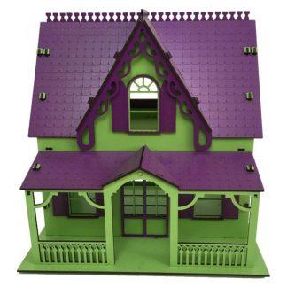 کلبه عروسکی چوبی متوسط پازلی سبز-بنفش