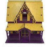کلبه عروسکی چوبی سایز متوسط پازلی (ساختنی) بنفش-زرد