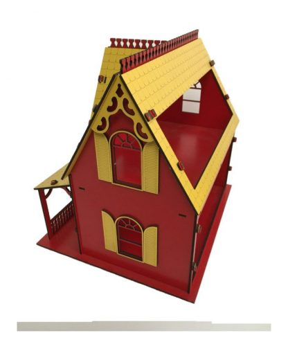 پازل چوبی سه بعدی کلبه عروسکی قرمز-زرد